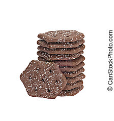 Chocolate Wafers - Stack of chocolate wafers sprinkled with ...