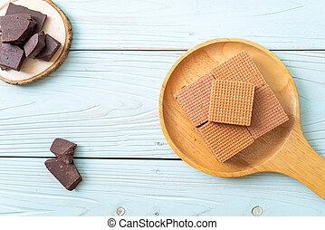 chocolate wafers with chocolate cream