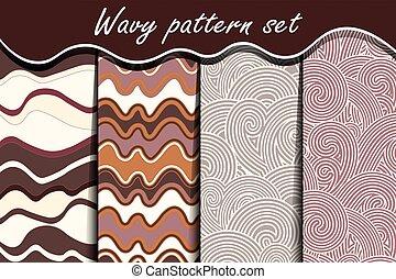 Chocolate waves seamless pattern set.