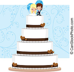 Chocolate Wedding Cake with hearts and groom and bride...