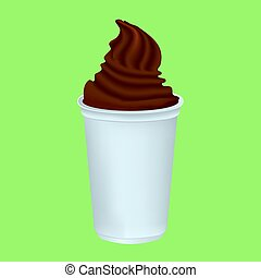 Chocolate whipped cream in a plastic Cup. Delicious mouth...