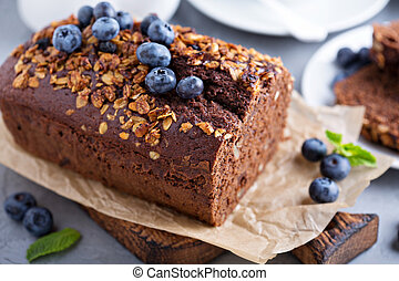 Chocolate whole wheat quick bread with nuts and fresh...