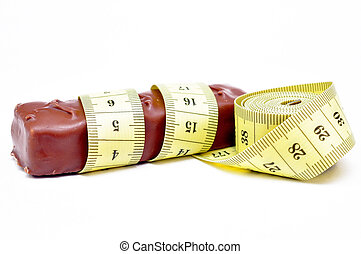 chocolate with a measuring tape