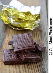 chocolate with a shiny open gold