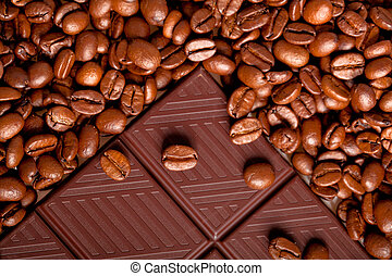 Chocolate with Coffee beans, texture background