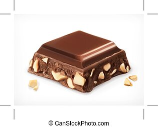 Chocolate with nuts, vector icon