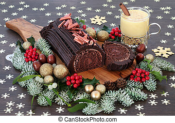 Chocolate Yule Log Cake and Eggnog