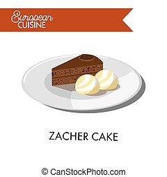 Chocolate zacher cake with ice cream balls from European cuisine