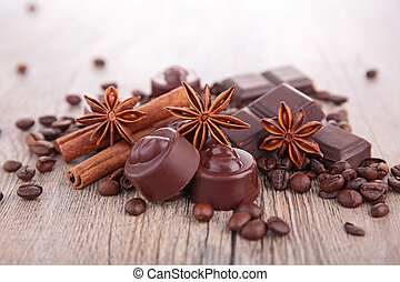 chocolate,coffee and spices