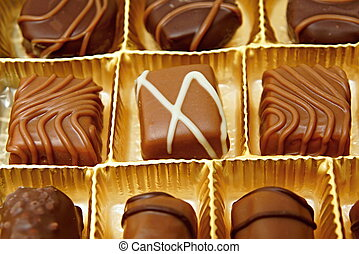 Chocolates candies in a box