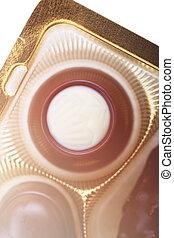 chocolates, contra, cobrança, fundo, misturado, branca