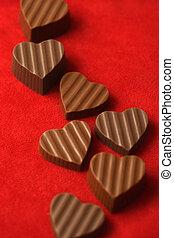 chocolates, día, valentines