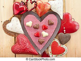chocolates, em, coração-forma