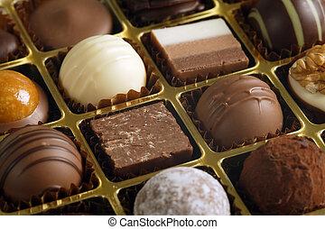chocolates, en, un, caja