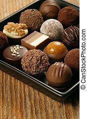 chocolates, en, un, plato porción