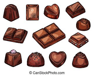 Chocolates icons, choco candies and sweets sketch -...