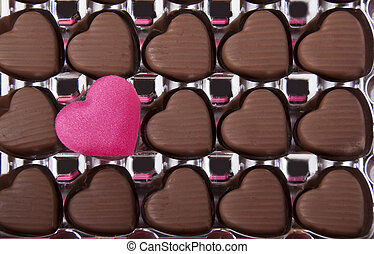 Chocolates in the form of a heart symbol.