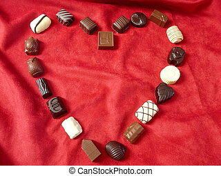 Chocolates in the shape of a heart