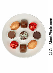 Chocolates on a white plate