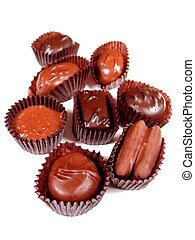 Chocolates on white 1 - Several chocolates on white...