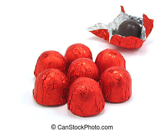 Chocolates wrapped in red