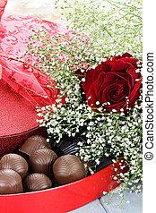 chocolates, y, beauitful, rosas