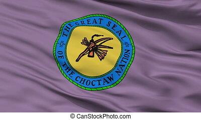 Choctaw Indian Flag Closeup Seamless Loop