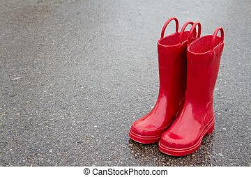 chodník, červeň, déš zaváděcí proces, deštivý