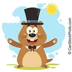 chodząc, życzliwy, świstak, światło słoneczne, litera, pod, maskotka, kapelusz, rysunek, szczęśliwy