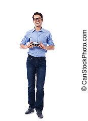 chodząc, aparat fotograficzny rocznika, dzierżawa, człowiek, okulary