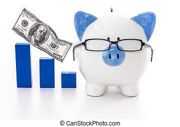 chodząc, błękitny, wykres, świnka, wzór, bank, okulary