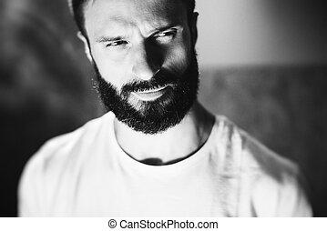 chodząc, brodaty, tshirt, bw, tło, portret, blure, biały, człowiek