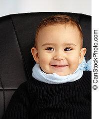 chodząc, chłopieć posiedzenie, ciepły, krzesło niemowlęcia, odzież