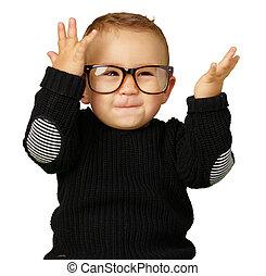 chodząc, chłopiec, oko, niemowlę, okulary, szczęśliwy