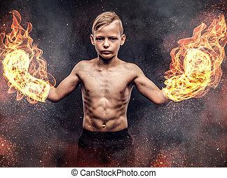 chodząc, chłopiec, płonący, shirtless, boks, młody, ciemny, tło., bokser, rękawiczki, textured, przedstawianie