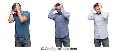 chodząc, człowiek, różny, because, ból, migraine., akcentowany, młody, sprzęty, cierpienie, rozpaczliwy, siła robocza, head., przystojny, ból głowy