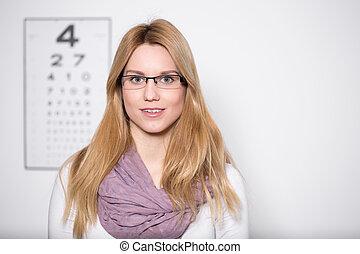 chodząc, dama, okulary