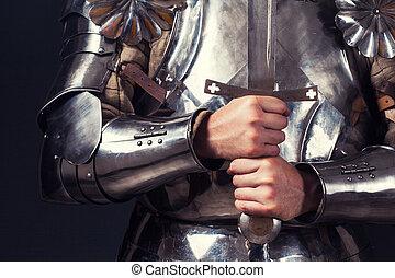 chodząc, dwa-wręczony, miecz, zbroja, rycerz, dzierżawa