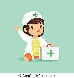 chodząc, dziewczyna, doktor, marynarka, ręka., litera, rysunek, falować, s, dzierżawa, walizka, niemowlę, uśmiechanie się, berbeć, kapelusz, medyczny