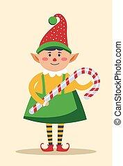 chodząc, elf, cukierek, tradycyjny, wtykać, dzierżawa, lizak...