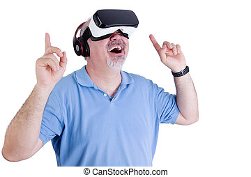 chodząc, faktyczna rzeczywistość, człowiek, podniecony, okulary