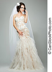 chodząc, fason, romantyk, bez rękawów, biały, panna młoda, wedding., wzór, strój, wesele, czuciowy