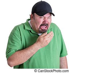chodząc, kichanie, zielona koszula, człowiek