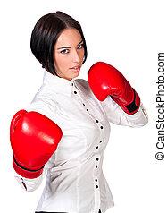 chodząc, kobieta, ładny, handlowy, odizolowany, bokser, tło, białe rękawiczki, czerwony