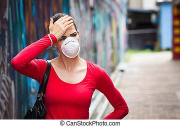 chodząc, kobieta, ból głowy, twarz maska