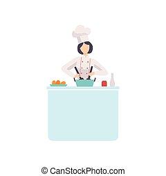 chodząc, kobieta, gotowanie, litera, ilustracja, jednolity, mistrz kucharski, wektor, kok, kapelusz, kuchnia