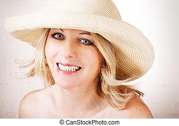 chodząc, kobieta, kapelusz