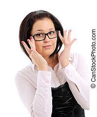 chodząc, kobieta, młody, jej, okulary