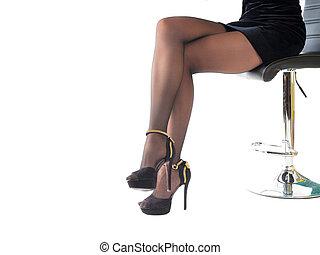 chodząc, kobieta, obuwie, biuro, posiedzenie, odizolowany, wysoki, krótki, chair., korek, sexy, biały, poła