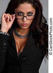 chodząc, kobieta, okulary